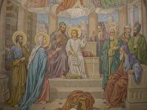 La mosaïque de Jésus a perdu et a trouvé dans le temple photographie stock