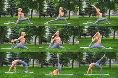 La mosaïque de la jeune femme faisant la forme physique s'exerce dehors Image stock