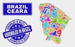 La mosaïque usine la carte d'état de Ceara et rayee réuni dans le filigrane du Brésil illustration stock