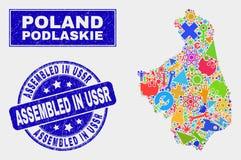 La mosaïque usine la carte de Podlaskie Voivodeship et rayee réuni dans le timbre de l'URSS illustration libre de droits
