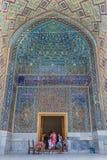La mosaïque en Ulugh prient Madrasah à Samarkand, l'Ouzbékistan Photographie stock libre de droits