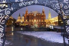 La Moscú el Kremlin en el Año Nuevo Fotos de archivo