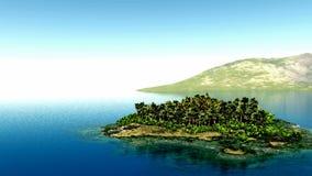 La mosca aérea tiró de la isla hermosa con una palmera en el océano almacen de video