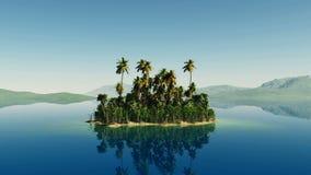 La mosca aérea tiró de la isla hermosa con una palmera en el océano almacen de metraje de vídeo