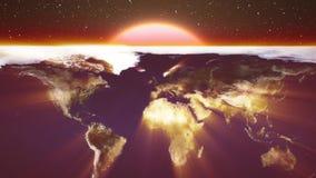 La mosca del mapa de la tierra en la animación en rayos del brillo del sol protagoniza el fondo del espacio - vídeo alegre colori almacen de metraje de vídeo