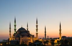 La moschea blu al tramonto Fotografia Stock Libera da Diritti