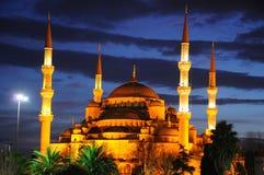 La moschea blu dopo il tramonto Immagini Stock Libere da Diritti