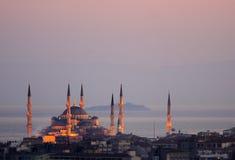 La moschea di Ahmed del sultano - moschea blu di Costantinopoli Fotografia Stock