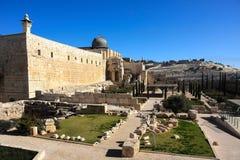La moschea di Al-Aqsa sul Temple Mount Immagini Stock
