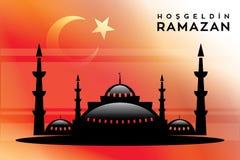 La mosquée bienvenue et le vecteur de Ramadan ont ouvré la conception Photos stock