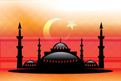 La mosquée bienvenue et le vecteur de Ramadan ont ouvré la conception Images stock