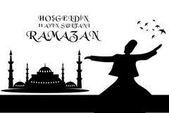 La mosquée bienvenue et le vecteur de Ramadan ont ouvré la conception Photos libres de droits
