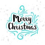 La motivation saisonnière d'hiver cite le texte Carte de voeux de Noël avec la calligraphie de brosse et les illustrations tirées illustration stock