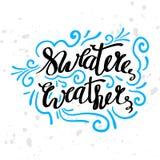 La motivation saisonnière d'hiver cite le texte Carte de voeux de temps de chandail avec la calligraphie de brosse et les illustr illustration libre de droits