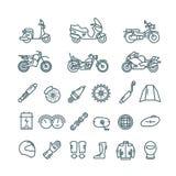La moto, les pièces d'auto et les accessoires de motocyclette dirigent la ligne icônes illustration de vecteur