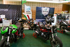La moto montrant à la cabine de Benelli à l'expo de moteur Images stock