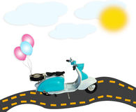 La motocyclette de scooter de collage monte en ballon le soleil de nuages de route d'isolement Image libre de droits