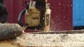 La motosierra asierra la madera metrajes