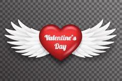 La mouche blanche d'ange d'oiseau de coeur de Saint Valentin s'envole l'illustration transparente de vecteur de fond de la concep illustration stock