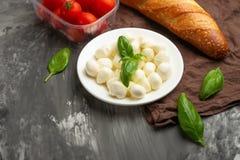 La mozzarella con albahaca sale - de los ingredientes frescos para Bruschetta, con los tomates de cereza y el baguette francés co fotos de archivo