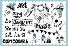 La música dibujada mano fijó 01 Fotografía de archivo libre de regalías