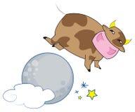 La mucca che salta sopra la luna Immagine Stock