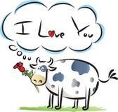 La mucca grassa dice: ti amo Immagini Stock