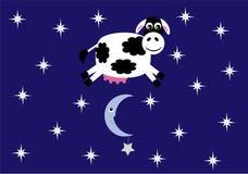 La mucca ha saltato sopra l'illustrazione di vettore della luna Immagini Stock Libere da Diritti