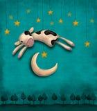La mucca salta sopra la luna Immagini Stock Libere da Diritti