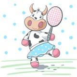 La mucca sveglia plat il grande tennis royalty illustrazione gratis
