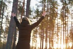 La muchacha adolescente aumentó las manos de detrás en bosque del pino del invierno en puesta del sol Fotografía de archivo libre de regalías