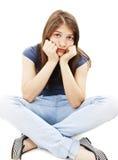 La muchacha adolescente de la depresión gritó solo Foto de archivo