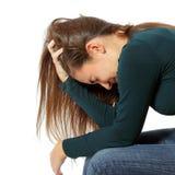 La muchacha adolescente de la depresión lloró solo Fotografía de archivo