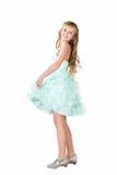 La muchacha adolescente en el baile de lujo del vestido aisló Foto de archivo libre de regalías