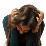 La muchacha adolescente en la depresión dura lloró solo Imagen de archivo libre de regalías
