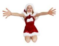 La muchacha adolescente es feliz de vernos en blanco Fotografía de archivo libre de regalías