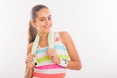 La muchacha adolescente sonriente entra para los deportes Imagen de archivo