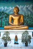 La muchacha adora al Buda Fotografía de archivo