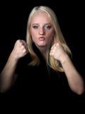 La muchacha agresiva. Imagen de archivo libre de regalías