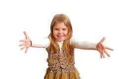 La muchacha alegre con gesto del abrazo Imagenes de archivo