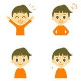 La muchacha, alegre, enojada, llora ilustración del vector