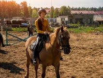 La muchacha alegre joven monta en un caballo marrón Entrenamiento del montar a caballo la niña está montando un caballo Foto de archivo libre de regalías