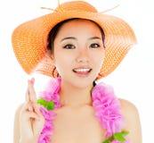 La muchacha asiática atractiva 20 años tiró en estudio Fotos de archivo libres de regalías
