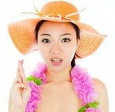 La muchacha asiática atractiva 20 años tiró en estudio Imagenes de archivo