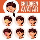 La muchacha asiática Avatar fijó vector del niño Escuela primaria Haga frente a las emociones Expresión, persona positiva Cartel, ilustración del vector