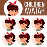 La muchacha asiática Avatar fijó vector del niño High School secundaria Haga frente a las emociones Alto, alumno del niño Pequeño ilustración del vector