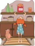La muchacha, atasco y un gato Imágenes de archivo libres de regalías