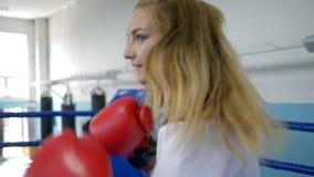 La muchacha atlética en el anillo hace sacadores exactos en guantes de boxeo y la mirada de la cámara en entrenamiento almacen de metraje de vídeo