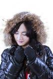 La muchacha atractiva en invierno viste con la capilla de la piel Fotos de archivo