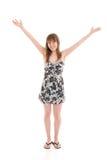 La muchacha atractiva joven aislada en un blanco imágenes de archivo libres de regalías
